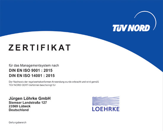 ISO 9001/14001 since 2013 | TÜV NORD